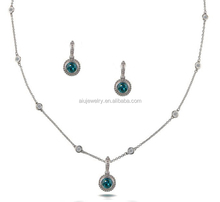 White Gold light weight diamond necklace set