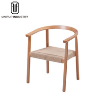 Hot sales cheap wooden armrest chair with backrest