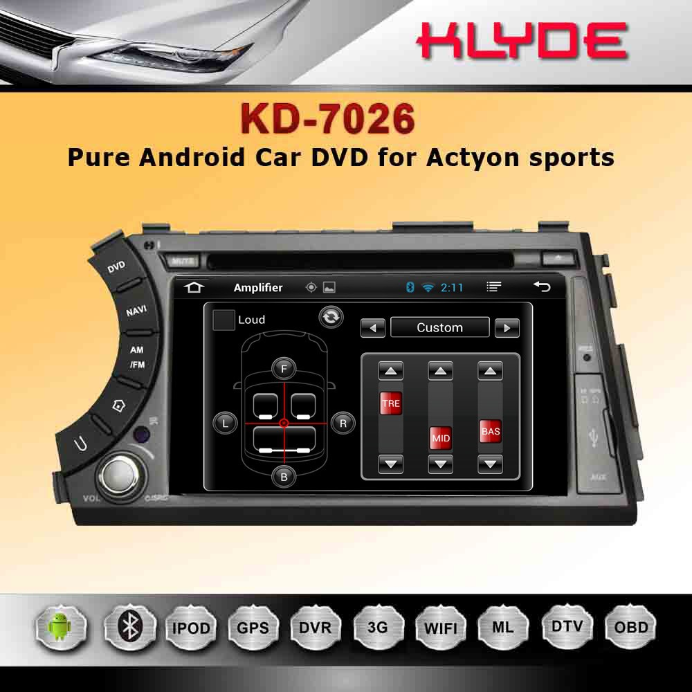 7'' HD double din car dvd for actyon sports with universal remote control