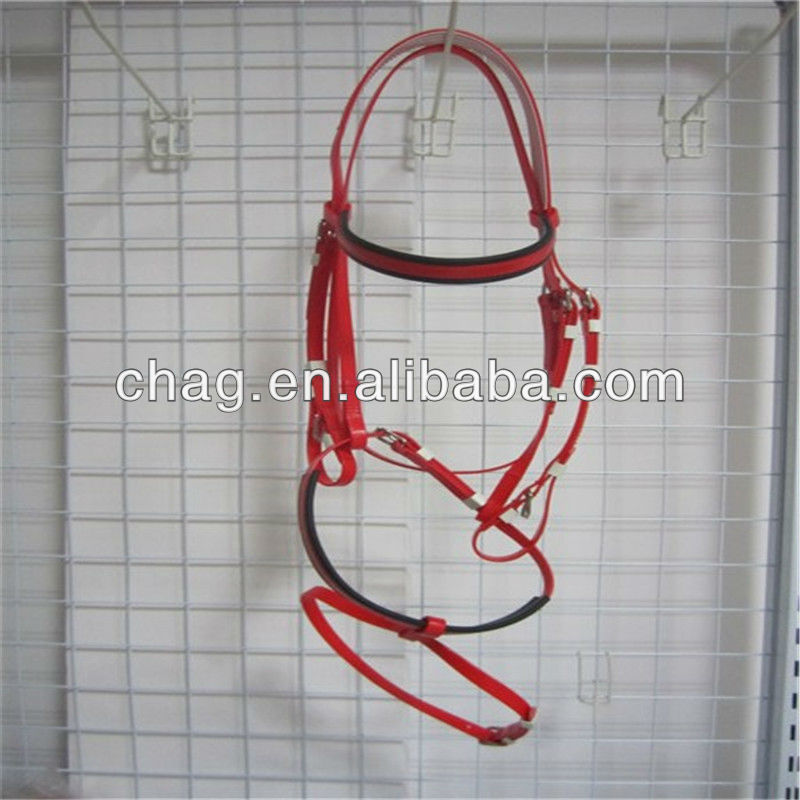 Red Flexible PVC Colored Horse Bridles and Reins with Metal Plate Accessories