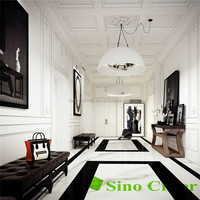 Indoor white and black marquina marble corridor floor tiles