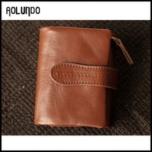 Wholesale high quality genuine leather trifold men's brown wallet