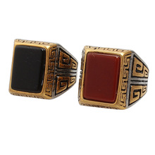 European Fashion Vintage Great Wall Pattern Big Stone Ring Designs for Men