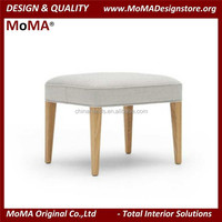Living Room Fabric Stool, American Style Stool Chair, Grey Fabric Stool With Solid Wood Legs