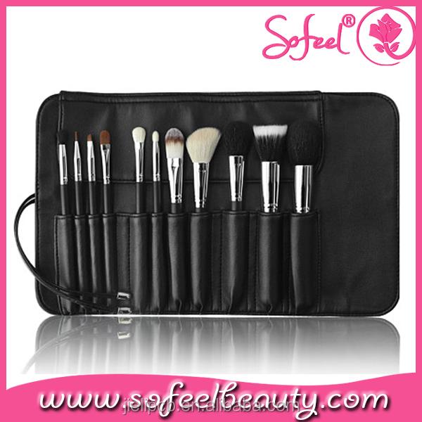 11 Pieces Goat Hair Professional Makeup Brushes Set With Makeup Holder