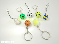 World cup mini soccer ball basketball golf volley ball key chains & phone charm