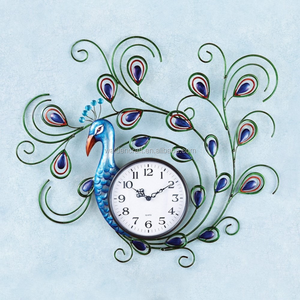 New Products 100% Handmade Crystal Peacock Metal Wall Clock