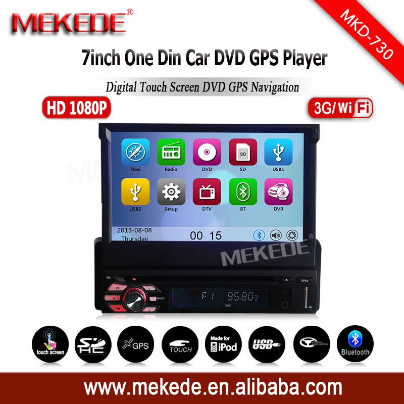 MEKEDE manufacturer one din Universal car gps navigator hot selling with DVD gps radio ipod BT 3G wifi