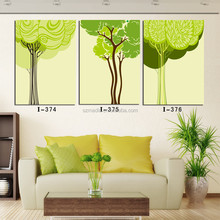 3 Panel Wall Art for Room Contemporary Landscape Painting Abstract Green Trees Relief Oil Paintings on Canvas