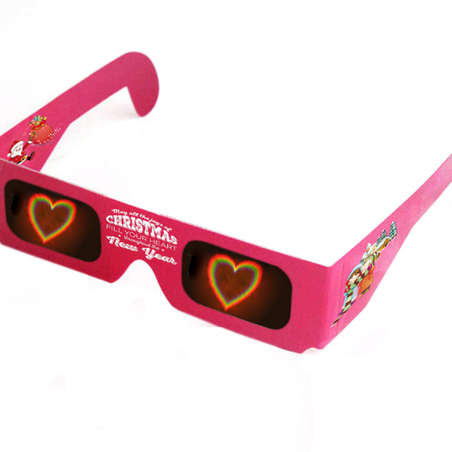 PC frame Flip up star spiral snow effect paper diffraction glasses with custom logo
