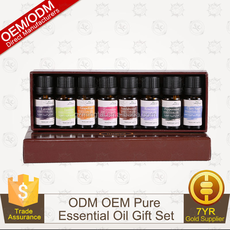 Direct factory Pure Essential oil Aroma Gift Set Top 8 /10ml For Amazon