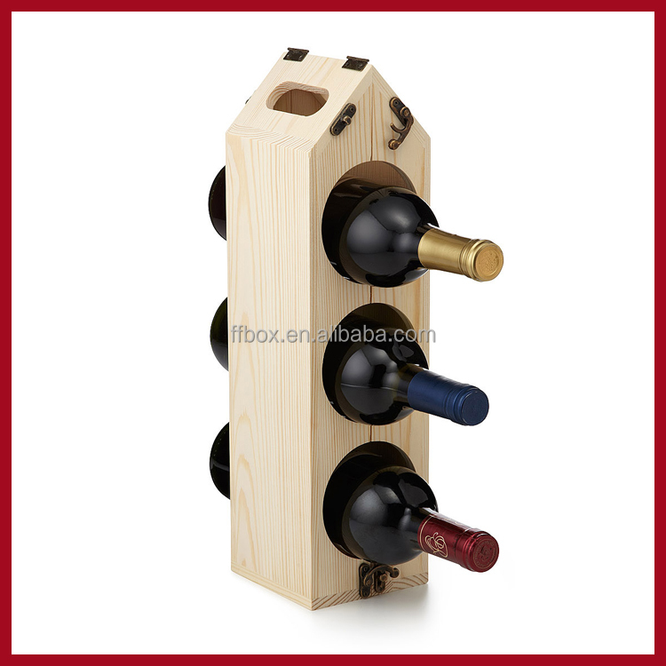 Convertible pine wood wine rack for bottles handle wine chest folding wooden gift wine display holder box
