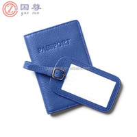 Custom Embossed / Print PU Leather Travel Passport Cover Luggage Tag Set Wholesale