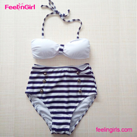 White And Blue Stripped High Waist Bikinis Swimsuit