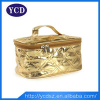 New style ladies handle gold cosmetic leather case
