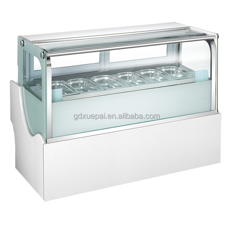 8 <strong>x</strong> GN1/4 Curved glass ice cream display freezer