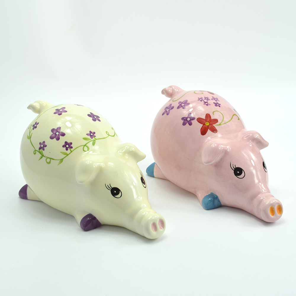 Beige pig hand painted ceramic home decoration accessories