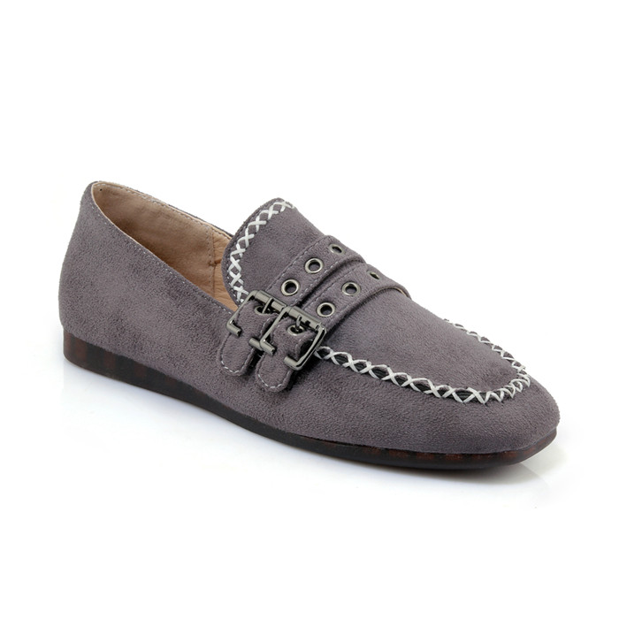 Suede Leather Women's Square Toe Flat Heel Loafer Flats