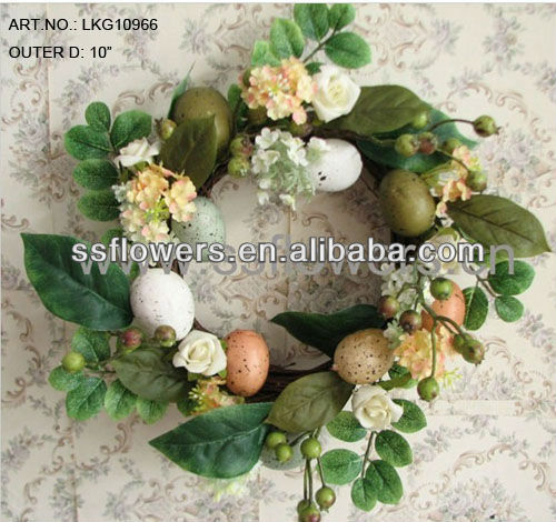 "2018 Hot Sale 10"" Artificial Easter Eggs and Flowers Easter Decoration Wreath"