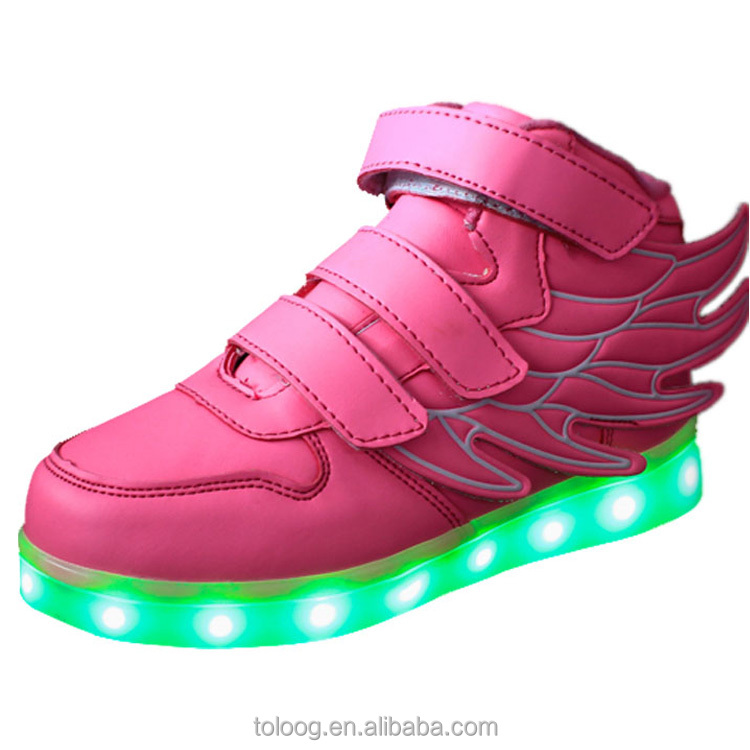 Kids Light Up Shoes With Wings Logo and LED Flash For Dolls