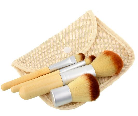 Art cosmetic Kiss beauty No brand Wholesale makeup makeup kits private label Bamboo Handle 4pcs Makeup Brush
