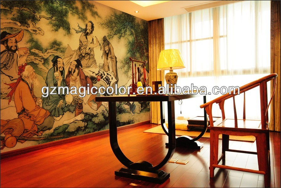 Custom vinyl Chinese ancient wallpaper covering wall