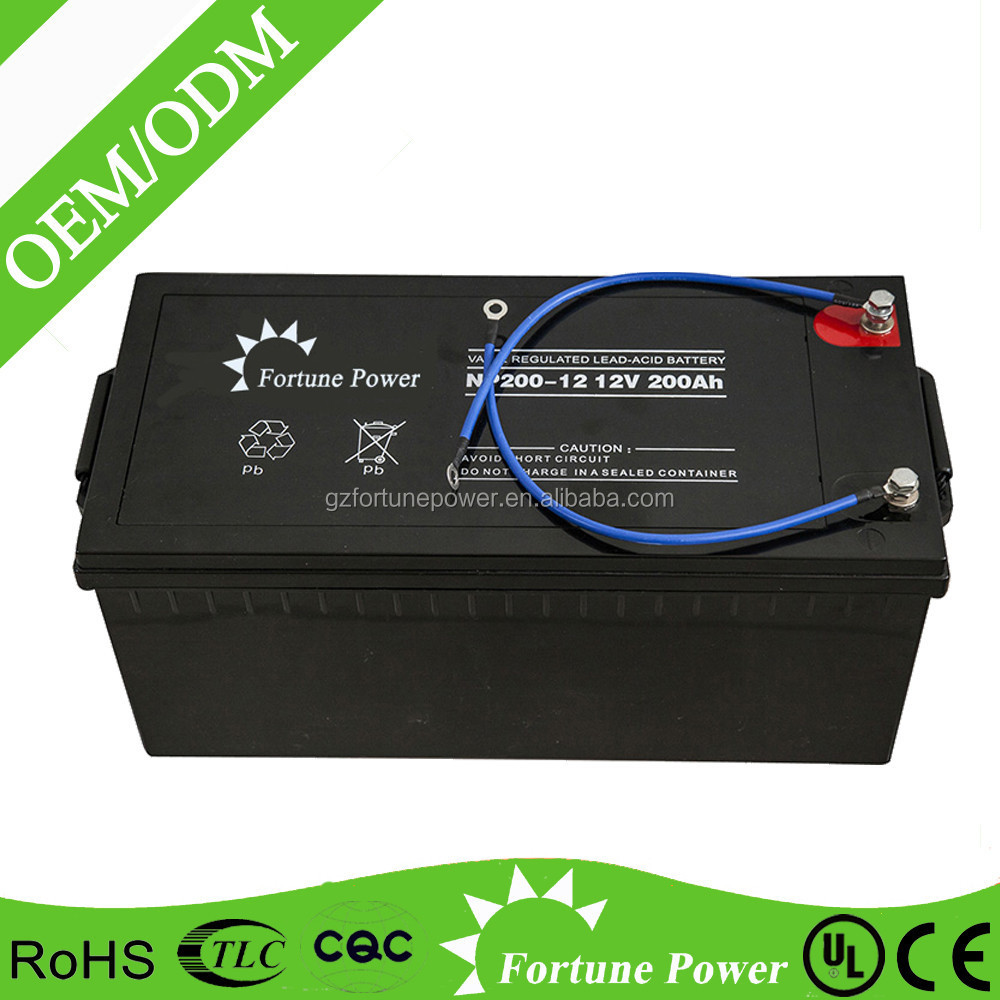 Fortune Power sealed maintenance free solar deep cycle storage 12v 200ah exide battery