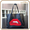 New Products 2015 Fashion Flaming Lips Shopping Bag Genuine Leather Handbag Cattle Hide Hand Bag Tote Shoulder Bag