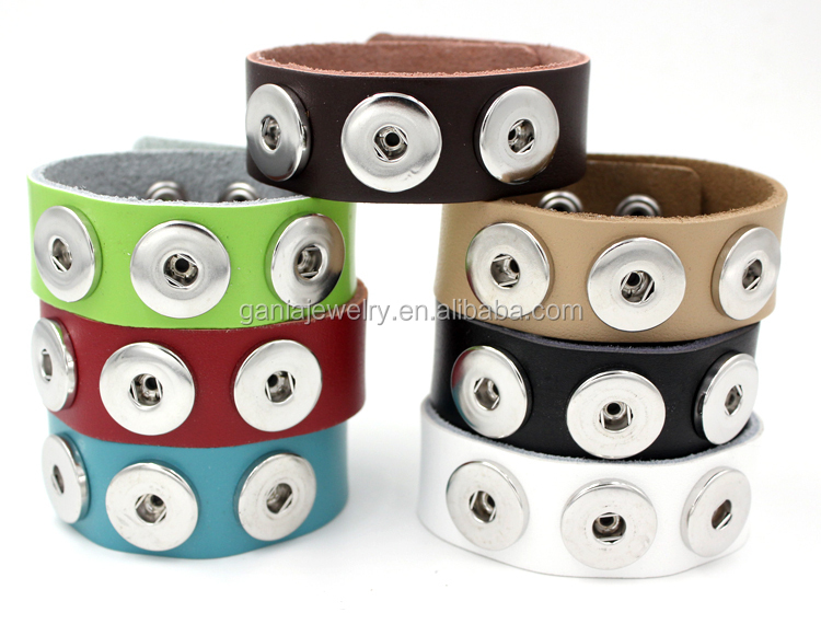Fashionable Interchangeable Bracelets,Leather Snap Wrist Bracelet Jewelry for DIY Buttons