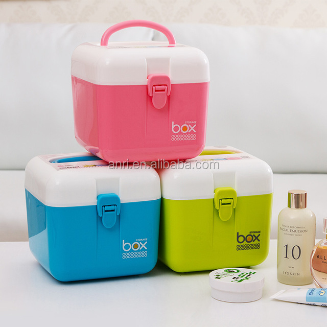 Multifunctional medicine kit storage box double layer belt the handle plastic jewelry cosmetics sundries storage case