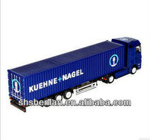 1:87 model truck toy 7.9 inch long plastic ocntainer with zinc alloy head