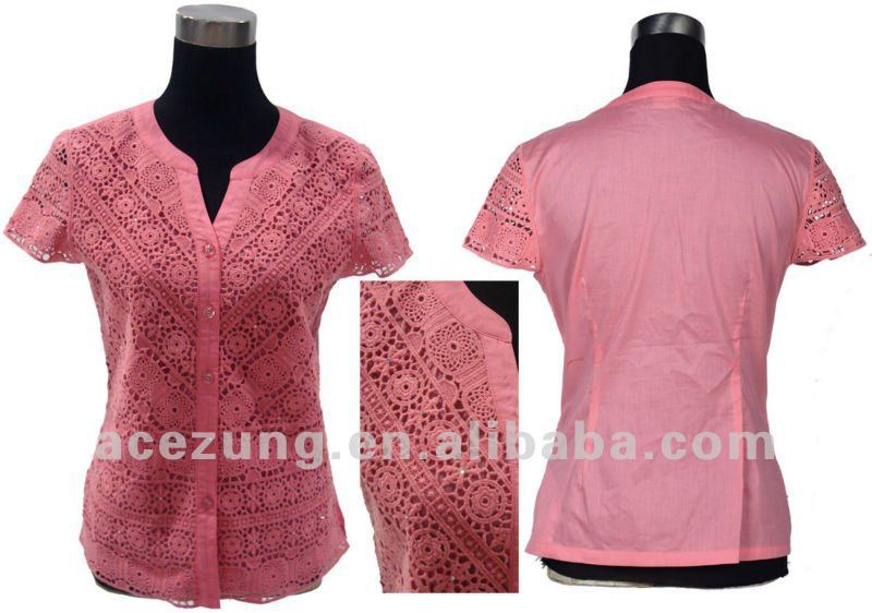 Fashion Embroidery Blouse Women Summer Clothing Made In China