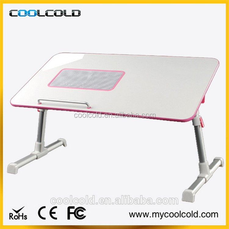 Foldable laptop cooling desk with cooling fan standing, hot sale lap desk