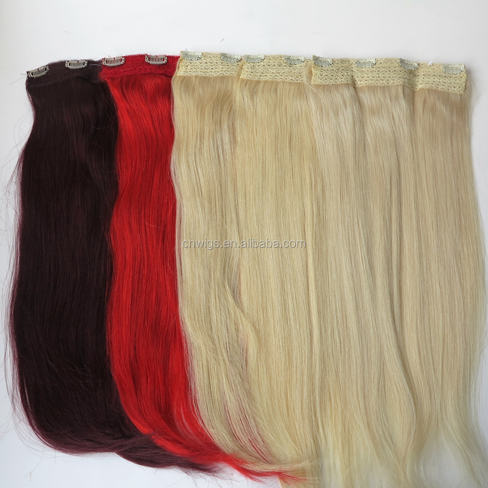 22inch 80g One Piece Clip In Human Hair Extensions Quad Weft Clip In