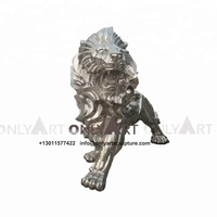 Hot Sale Outdoor Garden Life Size Stainless steel lion Sculpture WY-SS13