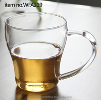380ml high quality hand made clear tea glass cup