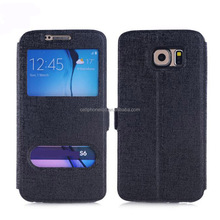 Oracle Texture Flip Leather Smart Case with Bracket Holder and Caller ID Window for Samsung Galaxy S6 S7 S8 Plus Note8
