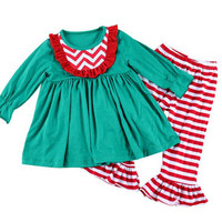 Cheap Baby Clothes Striped Print Ruffle