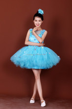 new blue princess dress /princess frock design dress/princess dress girls Dress-002