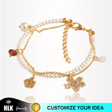 small flower pendant pearl natural stone bead bracelet guangzhou jewelry