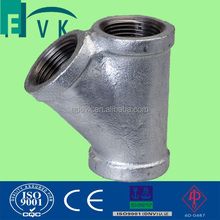 GI pipe fitting 45 degree y branches tee