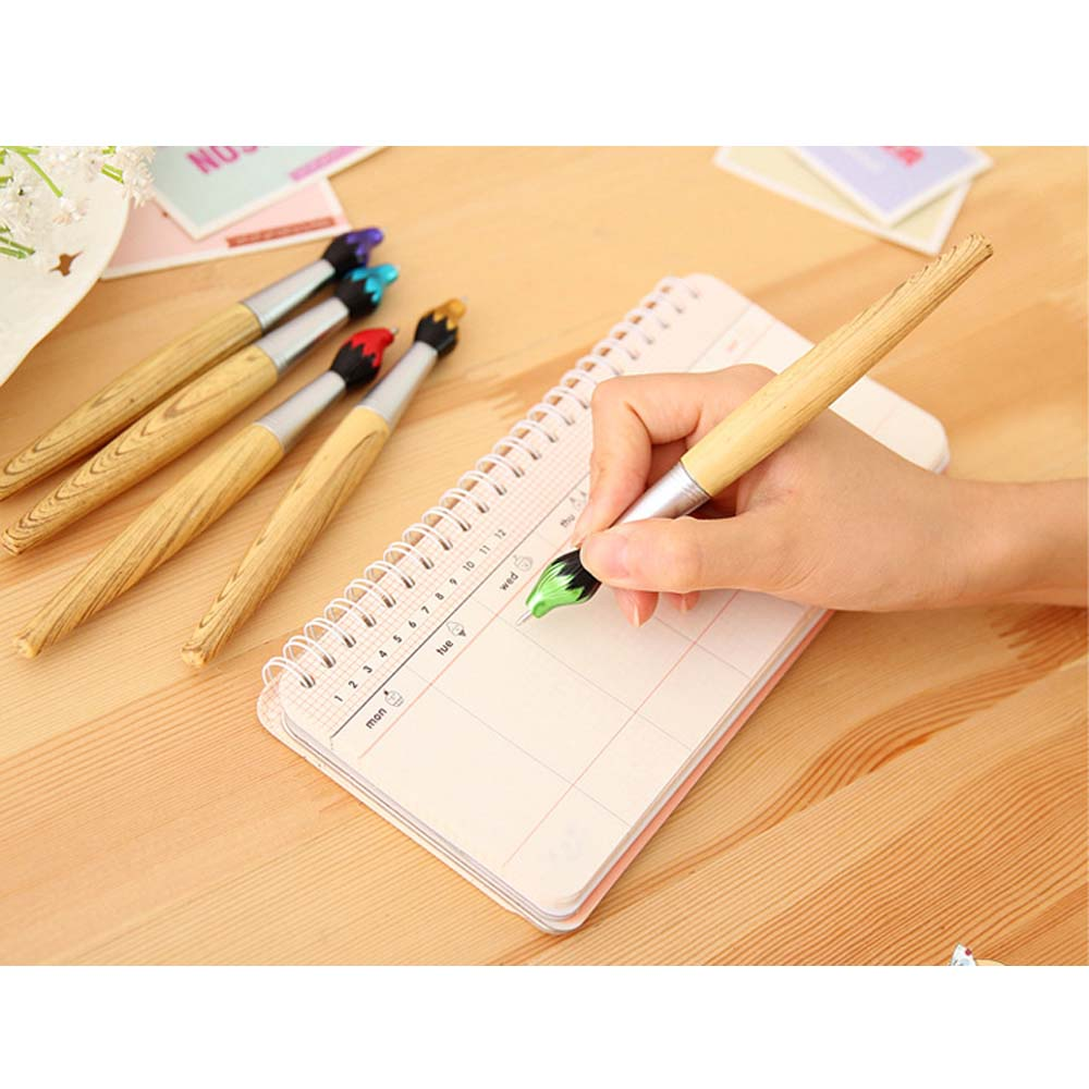 Novelty wooden painting brush shaped promotional pen