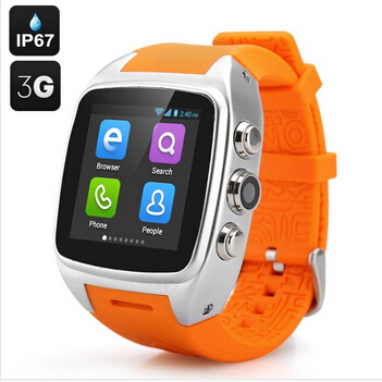 Hot Selling Silicon X01 Android 4.<strong>2</strong> <strong>O</strong>.S Smart Bluetooth Watch 2G/3G Smart Watch Phone GPS Pedometer