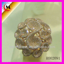 Flower Design Of Paved Crsytal Ring , Ring Mountings ,one direction