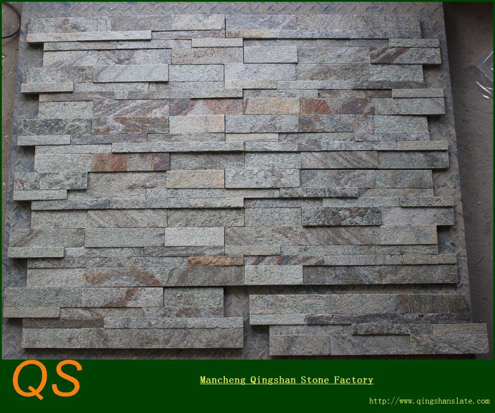 Decorative green flamed quartzite exterior wall stone - Interior decorative stone wall panels ...