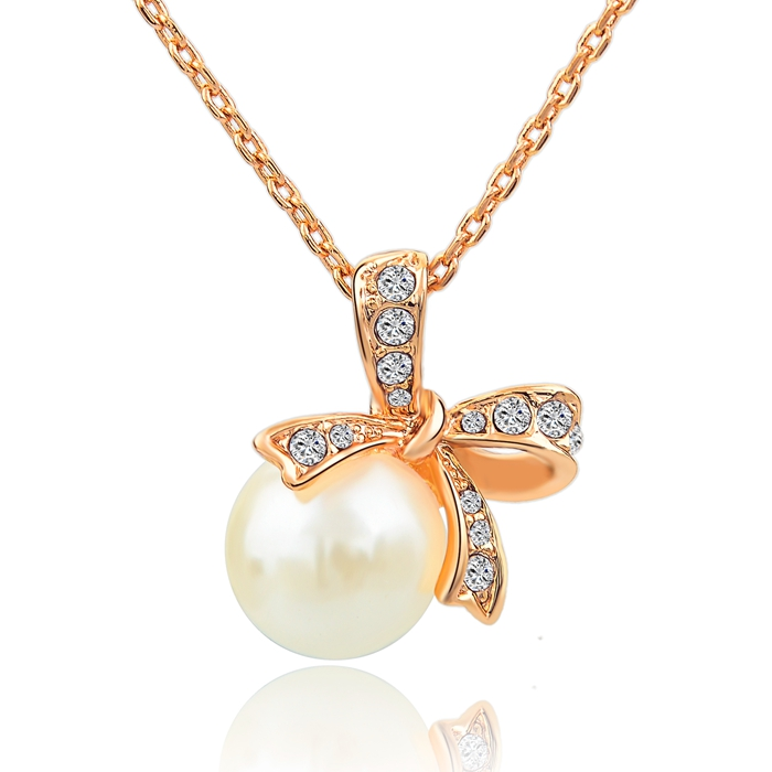 Fashionable Girl's Bow Shape With Pearl Pendant