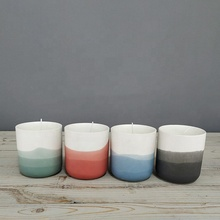 Deep hues gently fade color design cylinder matte home decoration candle <strong>container</strong> / marble ceramic candle jars with gift box
