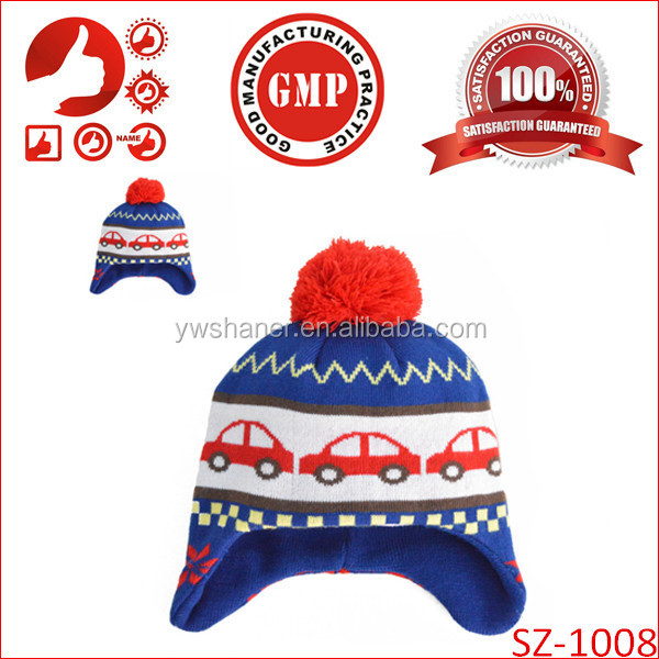 2014 Wholesale knit baby boys winter earflap hats earflap hat crochet pattern Newborn fashion children warm hats design