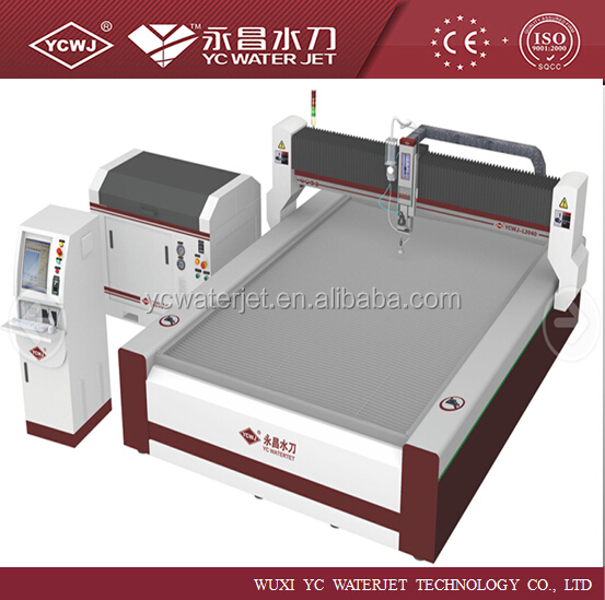 YC 2D waterjet cutting abrasive garnet sand accustream pump
