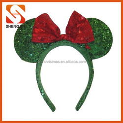 Minnie Mouse Ears Red Green Sequin Headband w/ Bow Christmas Holiday Hat